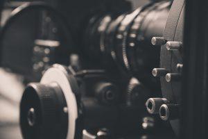 Movie film camera on set