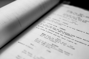Close up of a screenplay, black and white